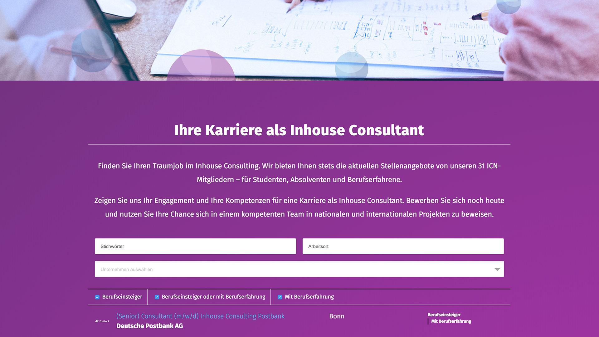 Inhouse Consulting Network Website dietz Jobsuche